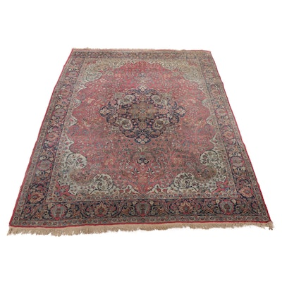 8'9 x 11'10 Hand-Knotted Persian Mashhad Wool Room Size Rug