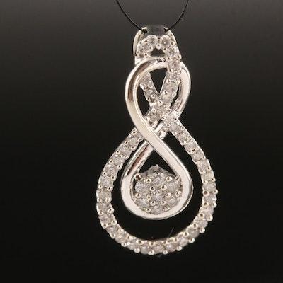 10K Diamond Ribbon Twist Infinity Pendant