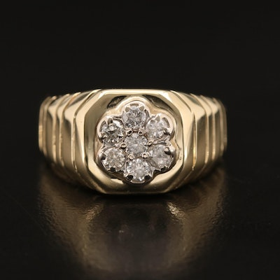 14K Diamond Cluster Ring with Ridged Pattern Shoulders