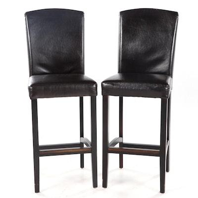 Pair of Arhaus Contemporary Bonded Leather Bar Stools