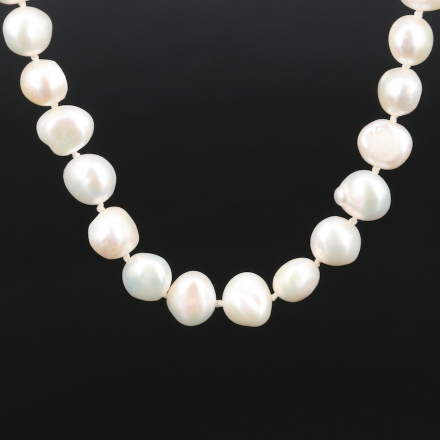 14K Knotted Pearl Necklace