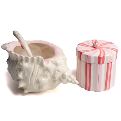 Conch Shell Ceramic Punch Bowl and Ladle with Candy Striped Cookie Jar