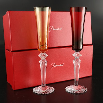 """Baccarat """"Mille Nuits"""" Ruby and Amber Crystal Champagne Flutes"""