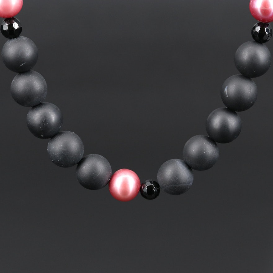 14K Black Onyx and Pearl Beaded Necklace
