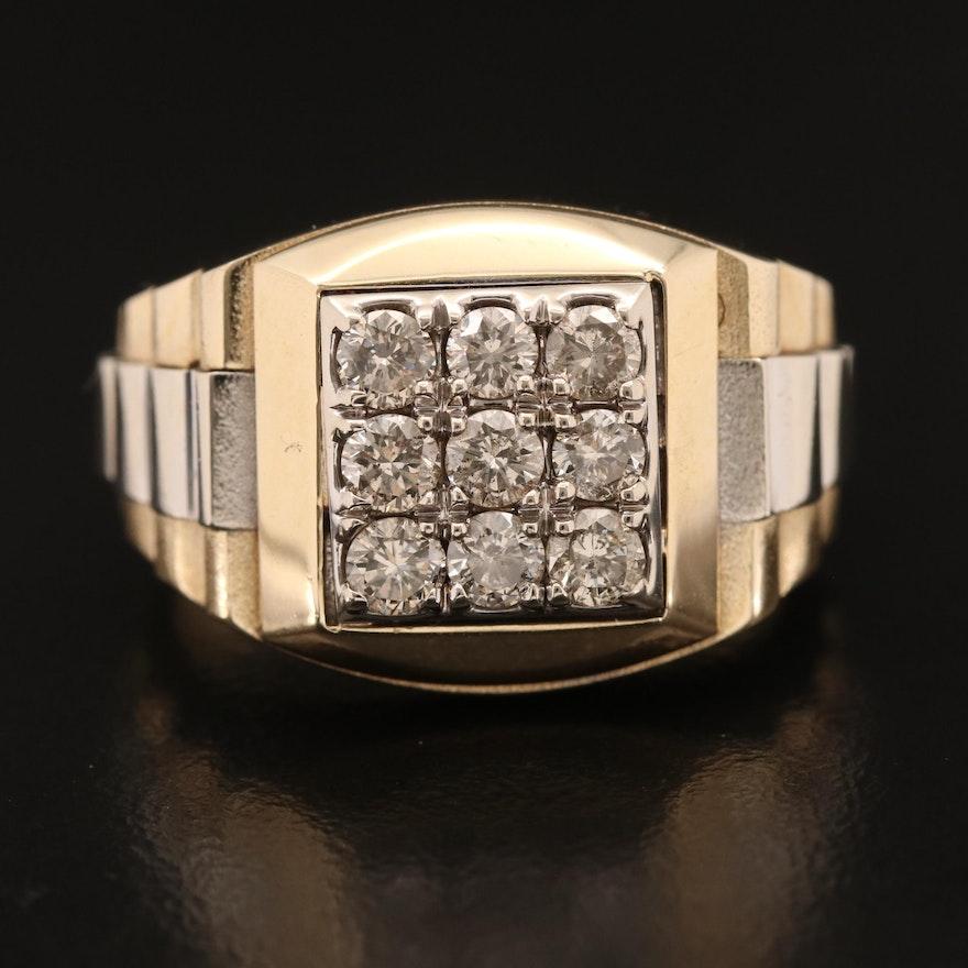 14K 1.00 CTW Diamond Ridged Patterned Ring