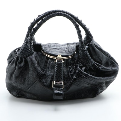 Fendi Spy Bag in Black Glossy Crinkle Leather