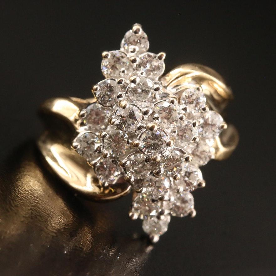 10K 2.25 CTW Diamond Cluster Ring