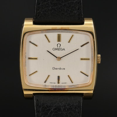 1973 Omega Geneve Gold Plated Stainless Steel Stem Wind Wristwatch
