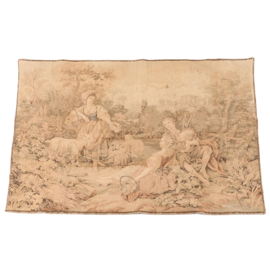 "Machine-Woven Tapestry after François Boucher ""Pastoral with a Bagpipe Player"""