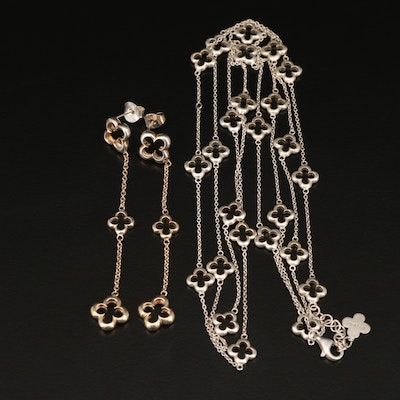 Heidi Klum Sterling Silver Quatrefoil Station Necklace and Drop Earrings
