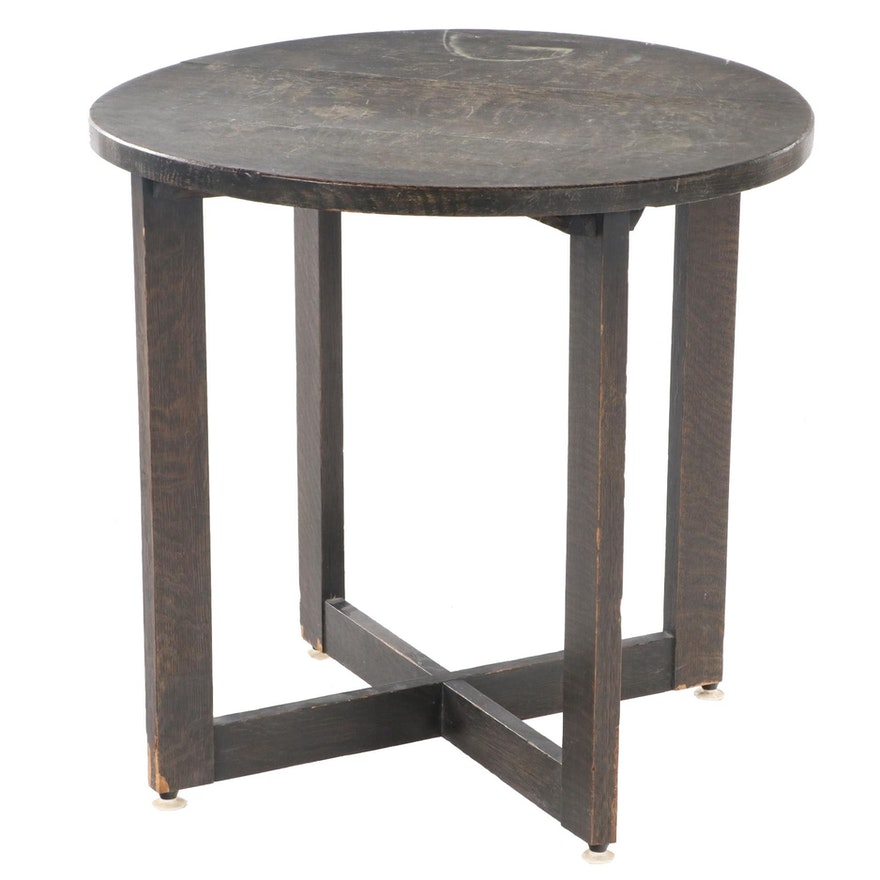Arts and Crafts Round Oak Side Table, Early 20th Century