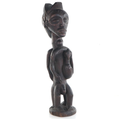 Chokwe Style Double Figure with Bird, Central Africa