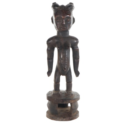 Attie Style Carved Wood Female Figure, Côte d'Ivoire