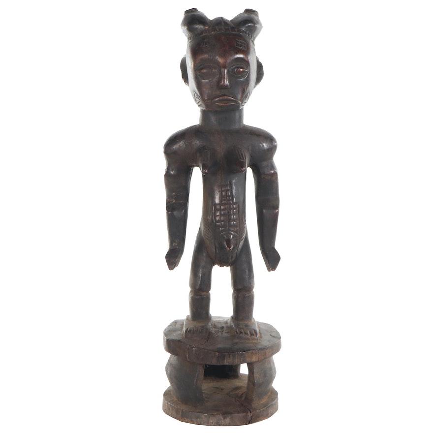 Attie Style Carved Wood Female Figure, Côte d'Ivoire