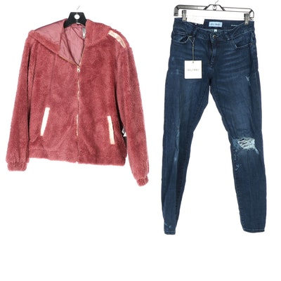 DL1961 Jeans and Pink Platinum Teddy Jacket
