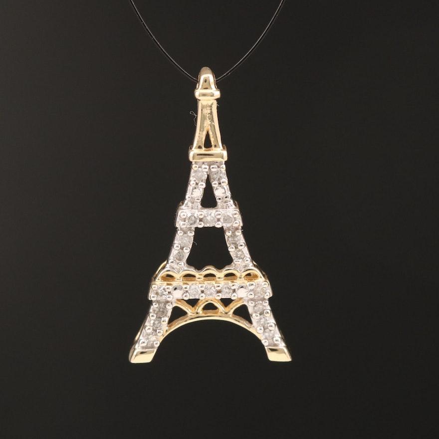 14K Diamond Eiffel Tower Pendant