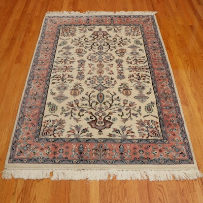 4' x 6'6 Hand-Knotted Indian Floral Area Rug