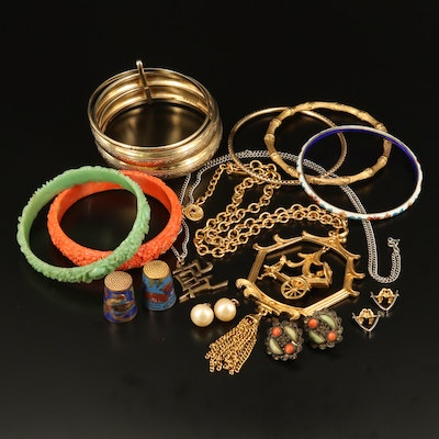 Vintage Jewelry Including Celluloid Floral Bangles and Cloisonné