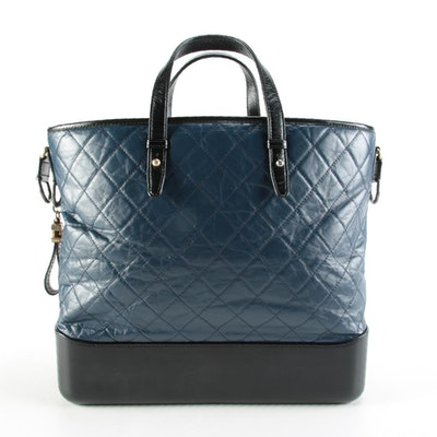 Chanel Gabrielle Two-Way Shopping Tote in Bicolor Crinkled Calf Leather
