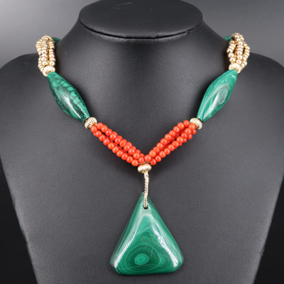 14K Malachite and Coral Beaded Drop Necklace
