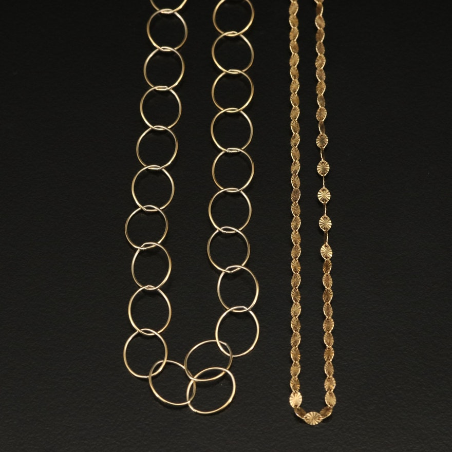 Sterling Silver Link Necklaces Featuring Danecraft
