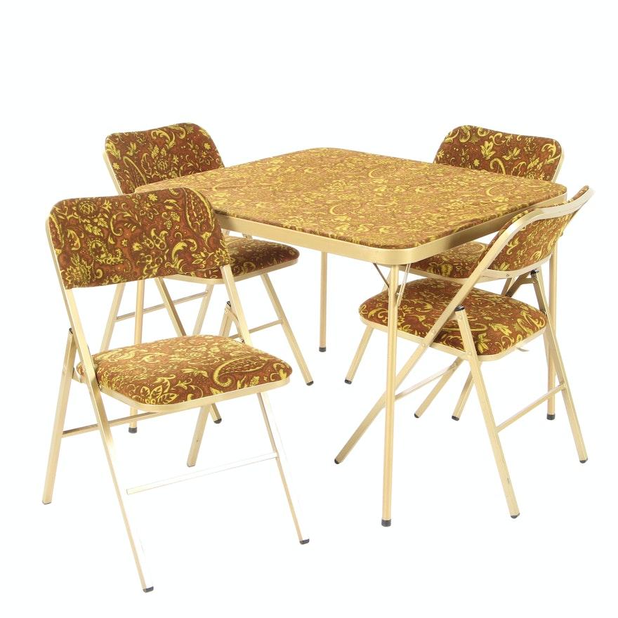 Mecoline Patterned Velveteen Upholstered Folding Card Table Set