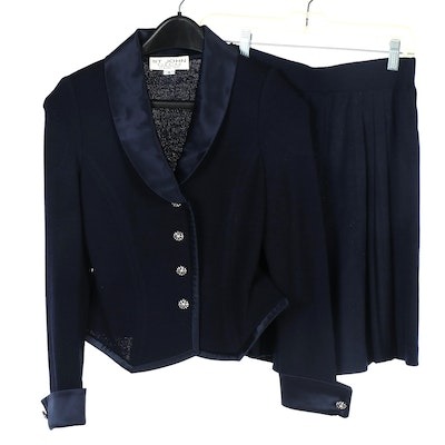 St. John Evening Navy Knit Jacket and St. John Collection Knit Pleated Shorts