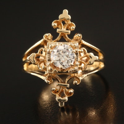14K Diamond Scrollwork Ring