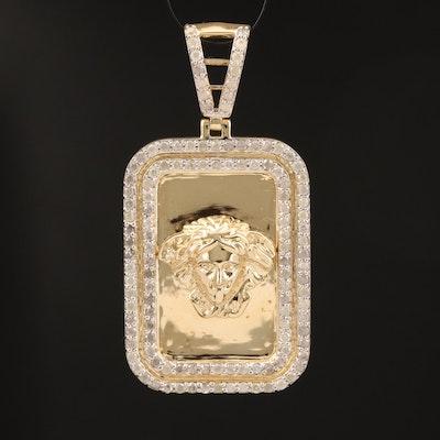 10K 1.00 CT Diamond Rectangular Pendant with Figure Head