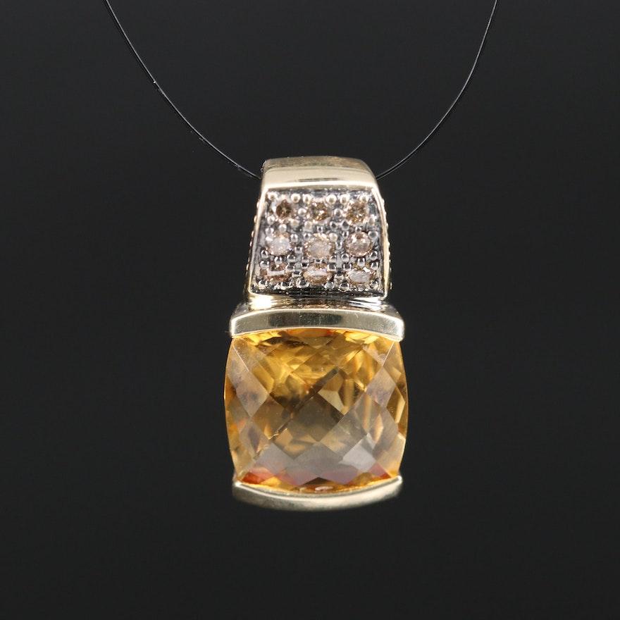 10K Citrine and Diamond Pendant