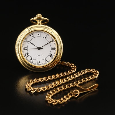 Quartz Pocket Watch with Roman Numerals and Chain Fob