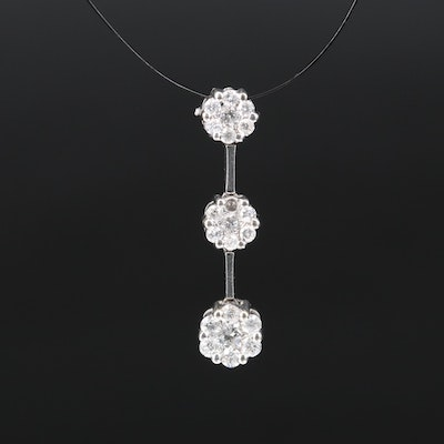 14K Diamond Cluster Drop Pendant