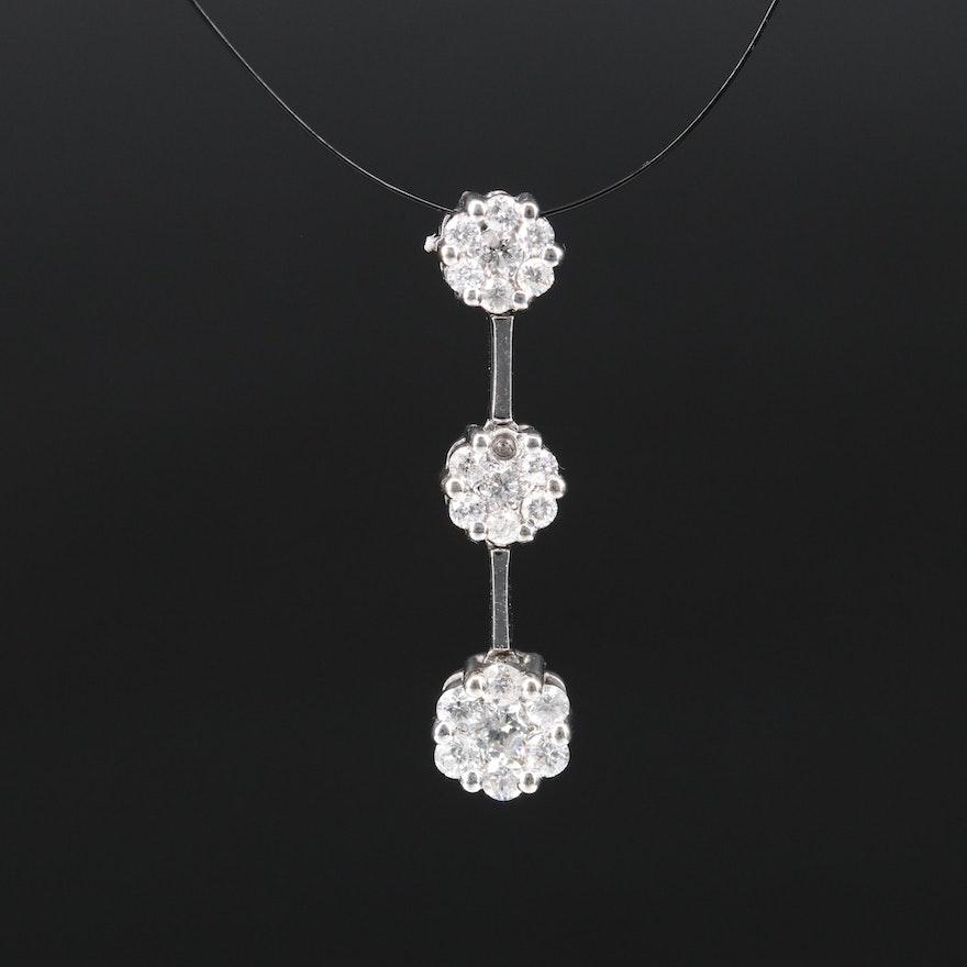 14K Diamond Cluster Drop Pendant