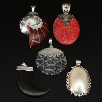 Sterling Coral and Pearl Pendant Selection