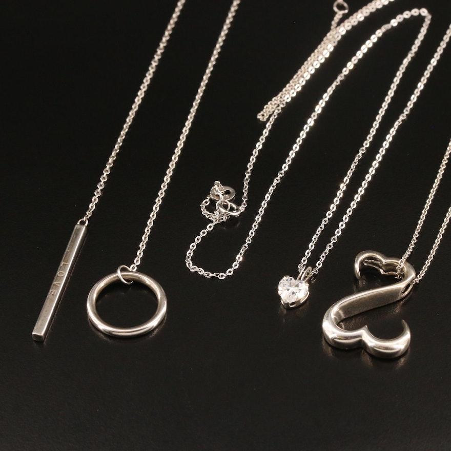 "10K Cubic Zirconia Heart Pendant with Jane Seymour ""Open Heart"" Necklace"