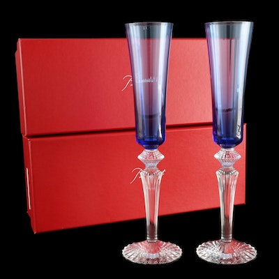 """Baccarat """"Mille Nuits"""" Sapphire Crystal Champagne Flutes"""