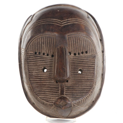 """Tetela-Songye Style """"Kifwebe"""" Carved Wood Mask, Central Africa"""