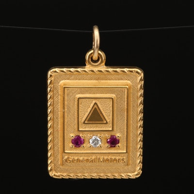 General Motors Diamond and Ruby Anniversary Pendant