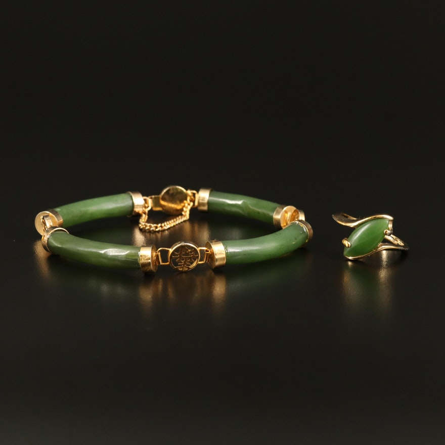Chinese Character Nephrite Bar Bracelet and Bypass Ring