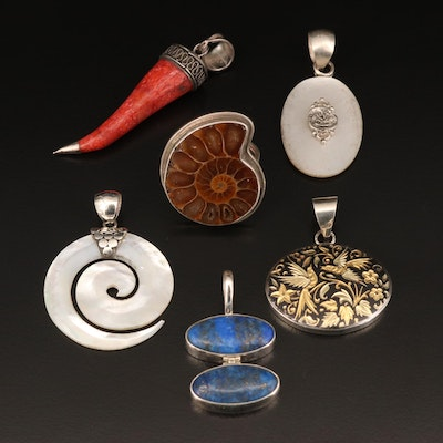 Sterling Pendants and Ring Including Ammonite, Coral and Mother of Pearl