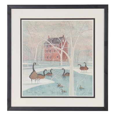 """P. Buckley Moss Offset Lithograph """"Family of Love,"""" Late 20th Century"""