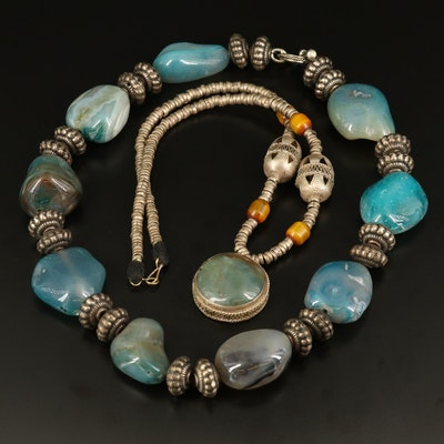 Agate and Glass Beaded Necklaces