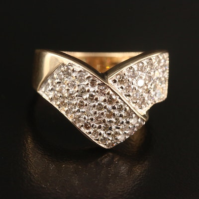 14K 1.02 CTW Diamond Band with Ribbon Pattern