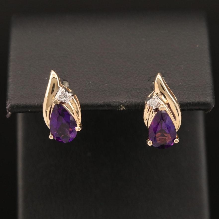 14K Amethyst and Diamond Stud Earrings