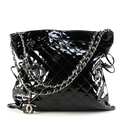 Chanel Bonbons Drawstring Tote 31 in Quilted Patent Leather