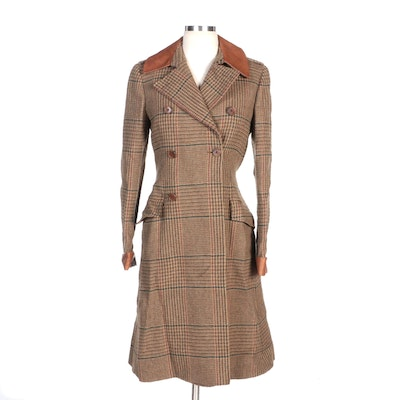 Ralph Lauren Plaid Wool Double-Breasted Coat with Smooth Leather Trim