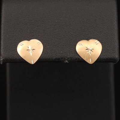 14K Engraved Heart Stud Earrings