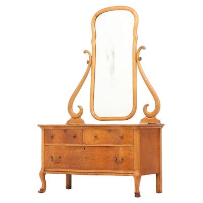 American Bird's-Eye Maple Serpentine-Front Dresser, Early 20th Century