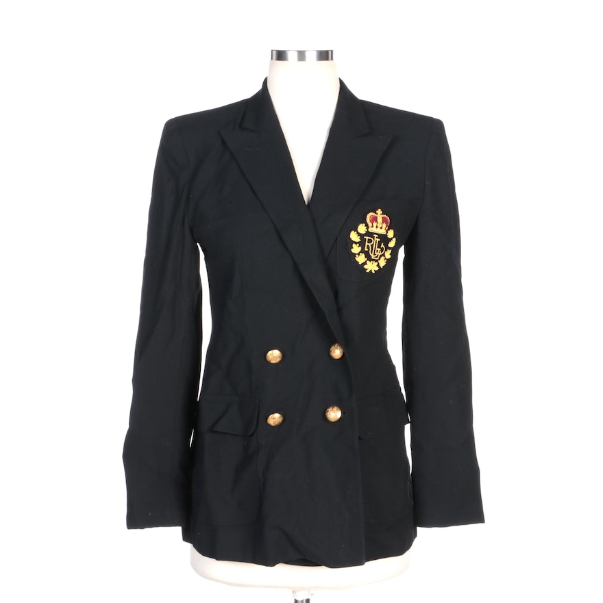 Lauren Ralph Lauren Black Wool Blazer with Metallic Embroidered Pocket Logo