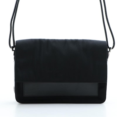 Gucci Flap Front Shoulder Bag in Black Nylon with Black Smooth Leather Trim